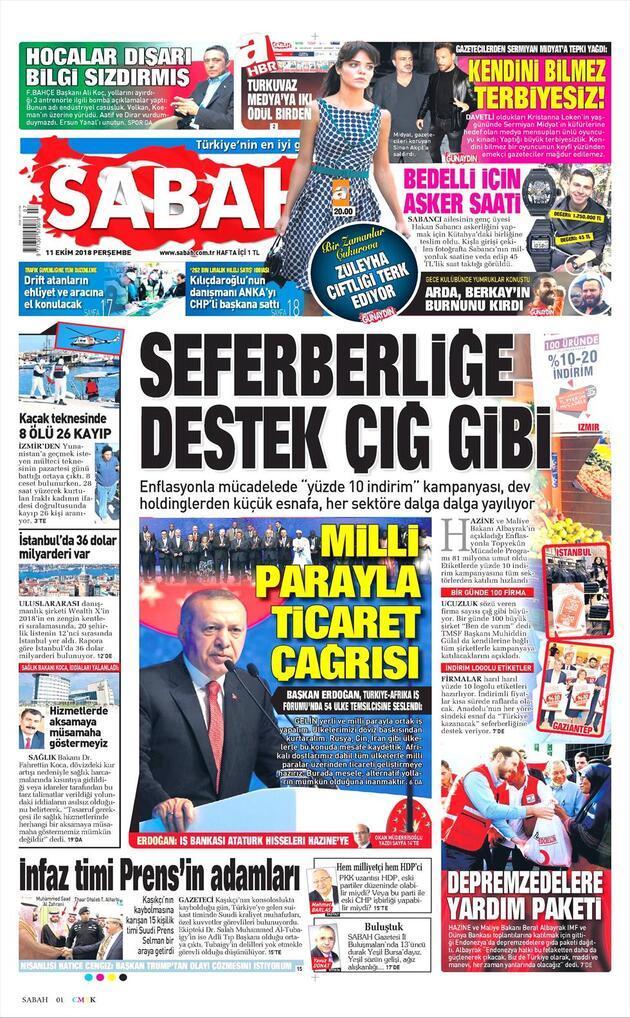 11 Ekim 2018 - Gazete Manşetleri