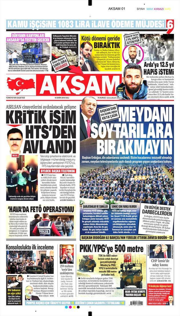 16 Ekim 2018 - Gazetelerin birinci sayfaları