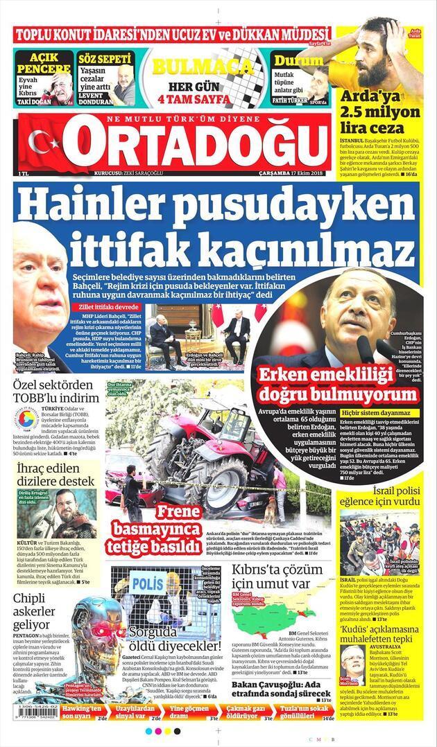 17 Ekim 2018 - Gazete Manşetleri