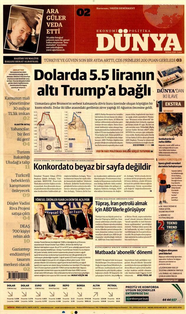 19 Ekim 2018 - Gazete Manşetleri