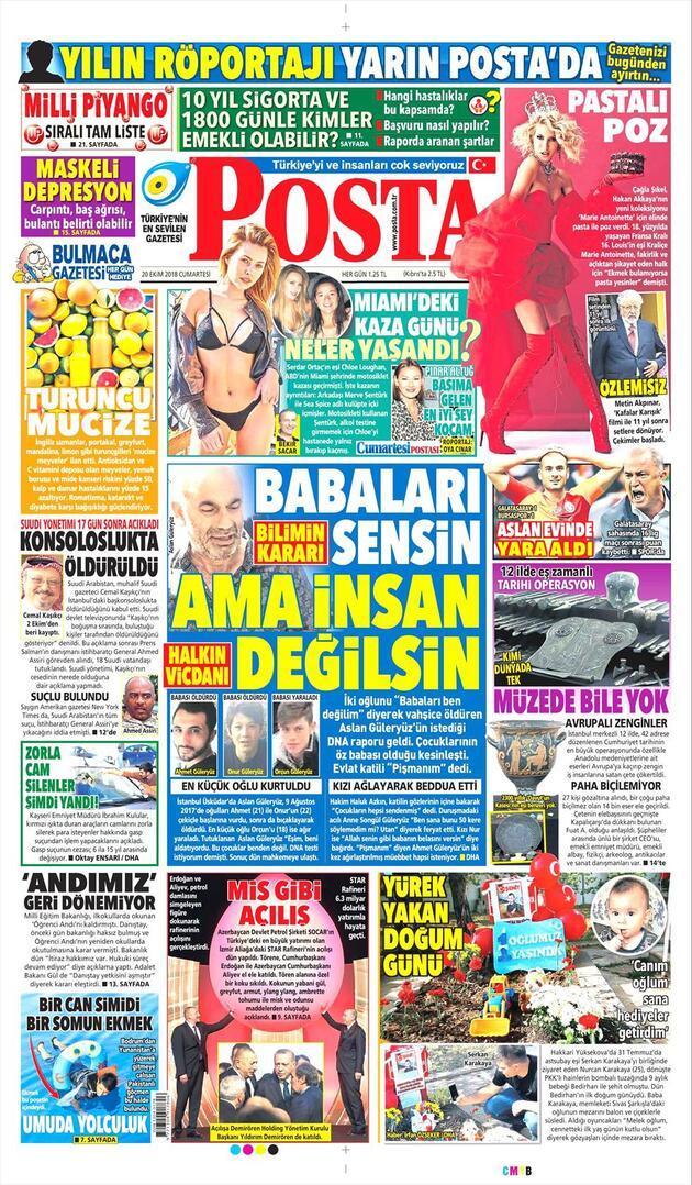 20 Ekim 2018 - Gazete Manşetleri