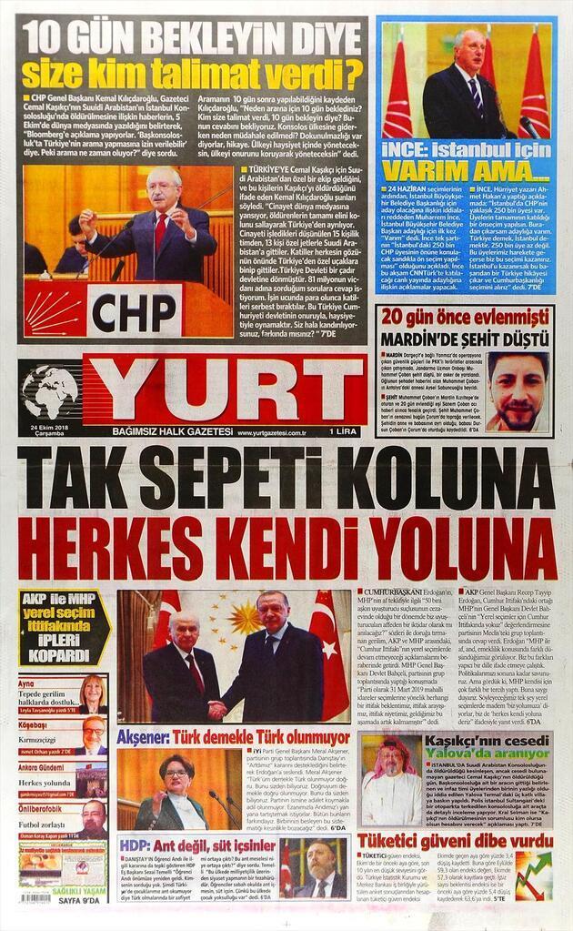 24 Ekim 2018 - Gazete Manşetleri