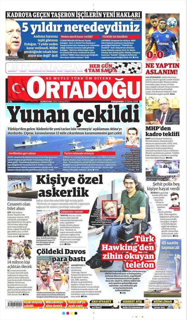25 Ekim 2018 - Gazete Manşetleri