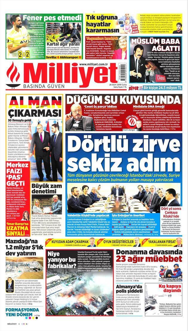 26 Ekim 2018 - Gazete Manşetleri