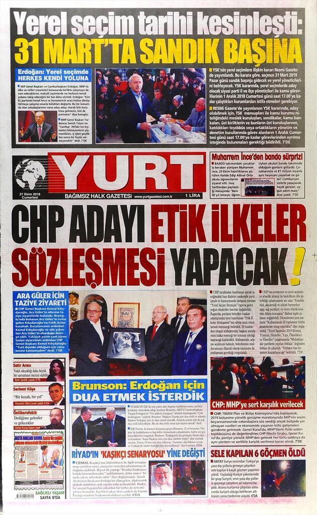 27 Ekim 2018 - Gazete Manşetleri