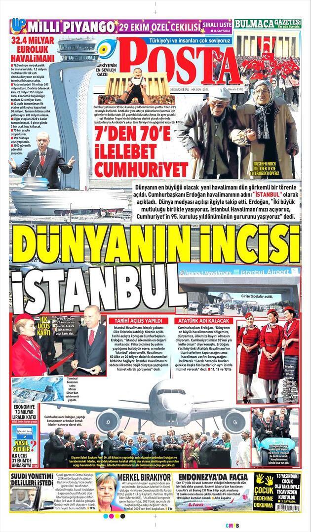 30 Ekim 2018 - Gazetelerin birinci sayfaları