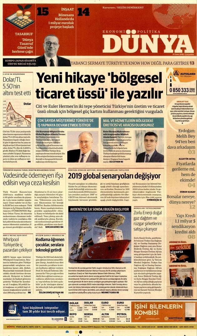 31 Ekim 2018 - Gazete Manşetleri