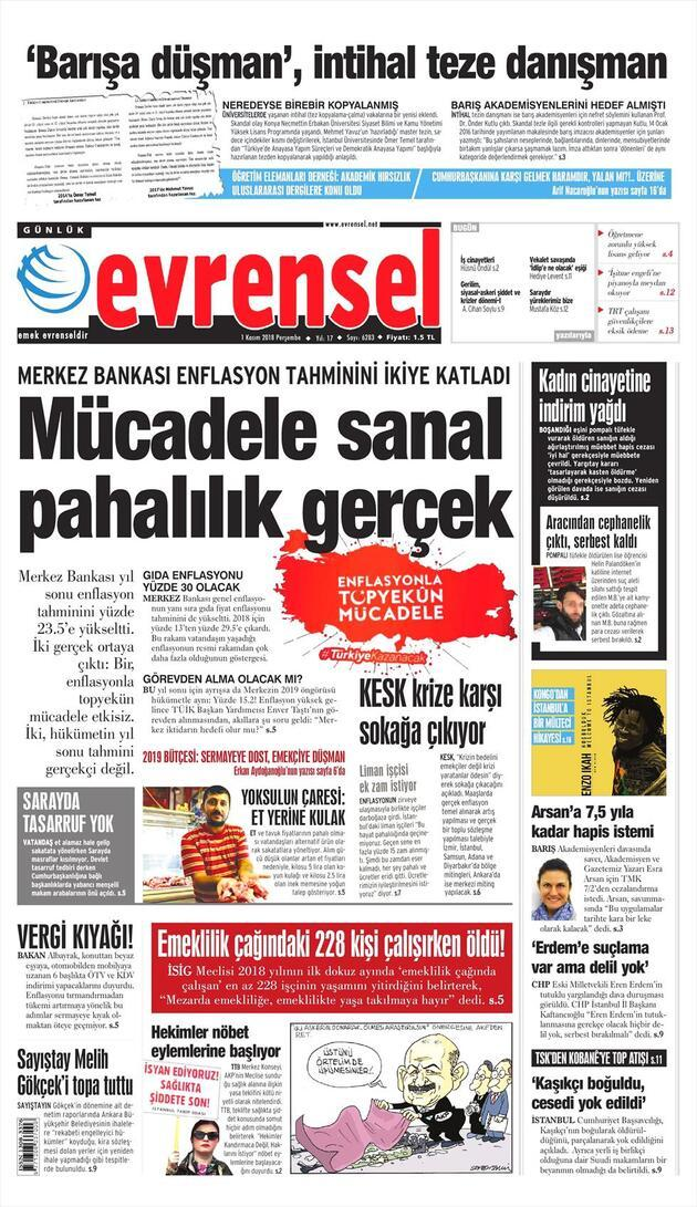 1 Kasım 2018 - Gazete Manşetleri
