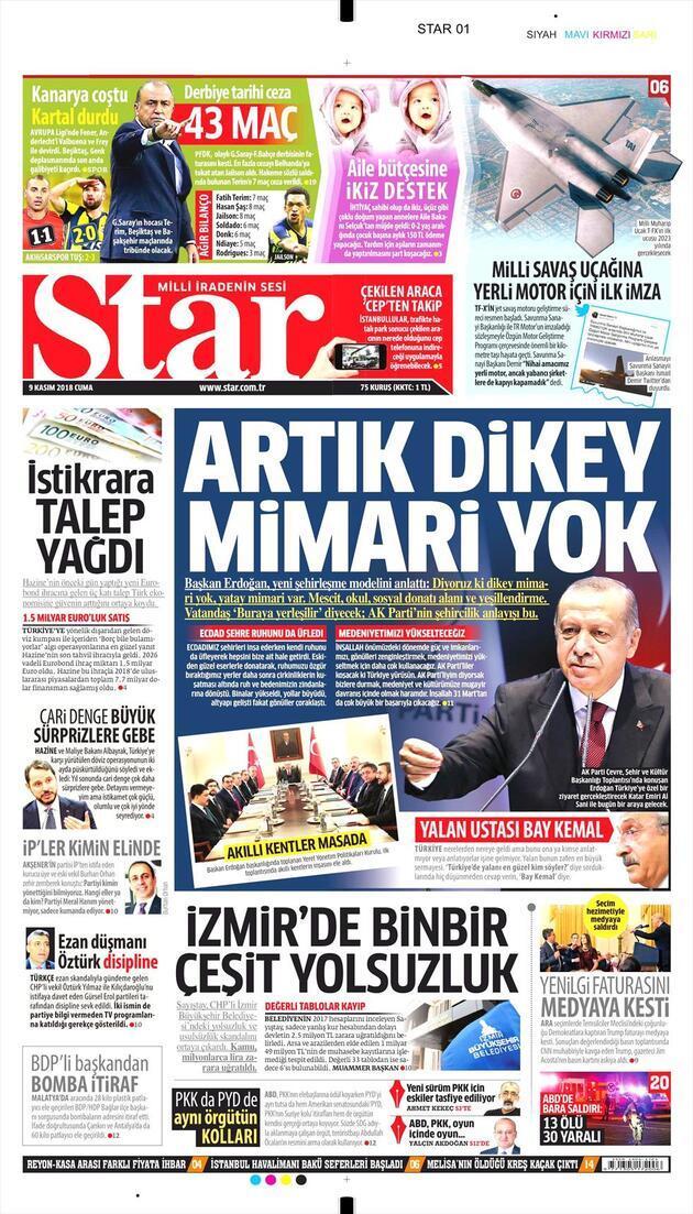 9 Kasım 2018 - Gazete Manşetleri
