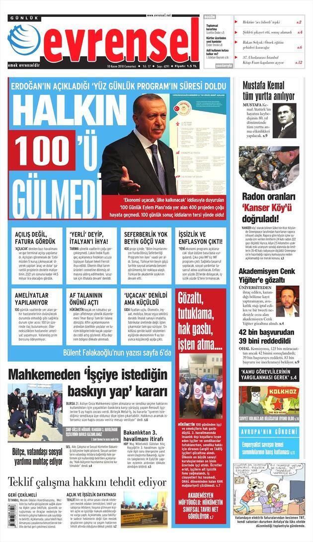 10 Kasım 2018 - Gazete Manşetleri