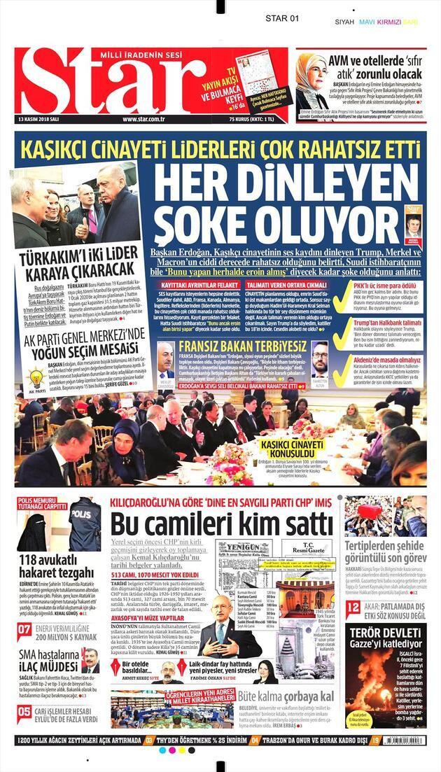 13 Kasım 2018 - Gazetelerin birinci sayfaları