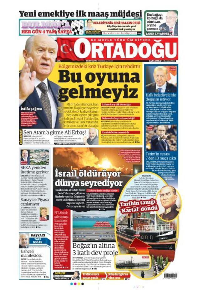 14 Kasım 2018 - Gazete Manşetleri