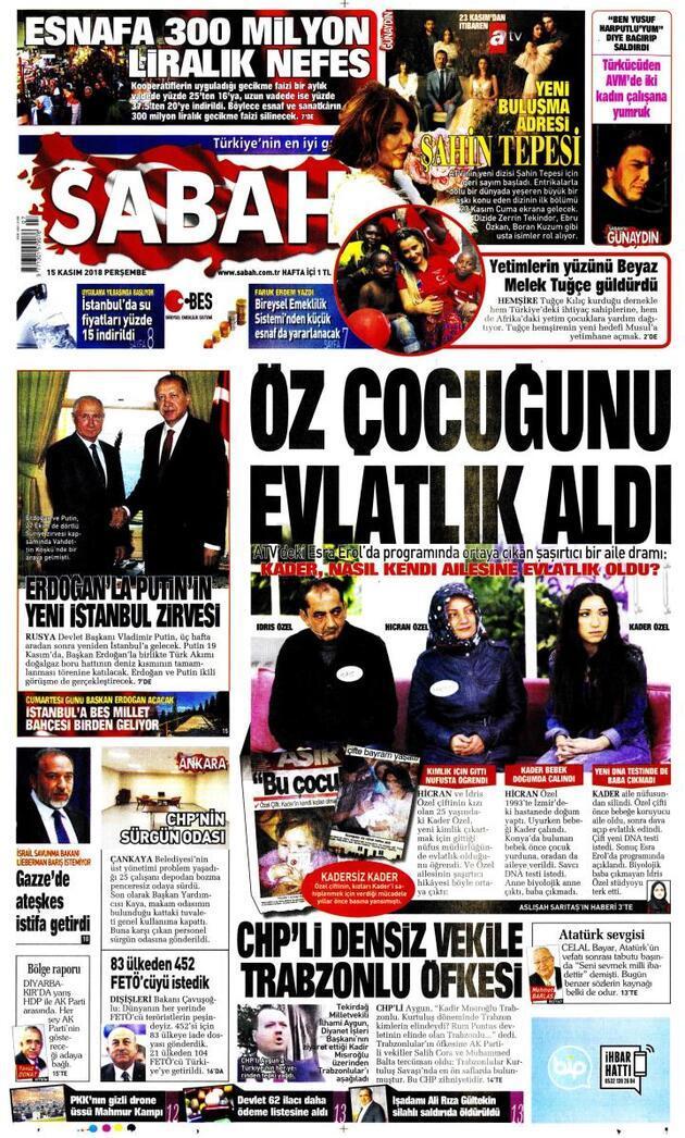 15 Kasım 2018 - Gazete Manşetleri