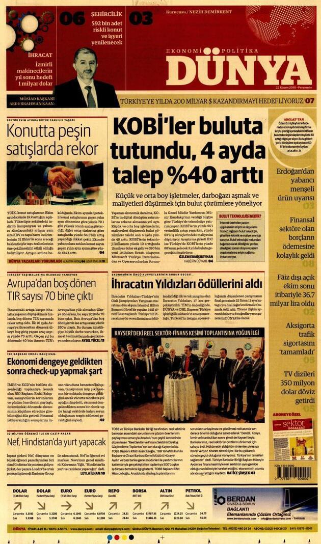 22 Kasım 2018 - Gazete Manşetleri