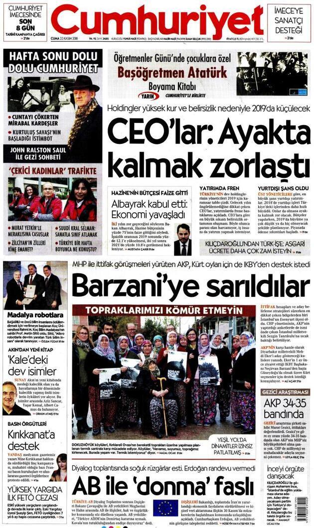 23 Kasım 2018 - Gazete Manşetleri