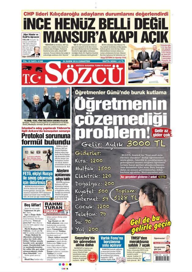 24 Kasım 2018 - Gazete Manşetleri