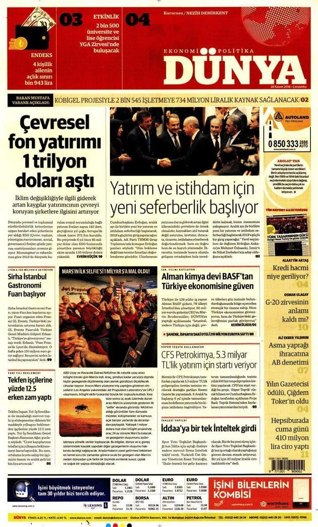 28 Kasım 2018 - Gazete Manşetleri