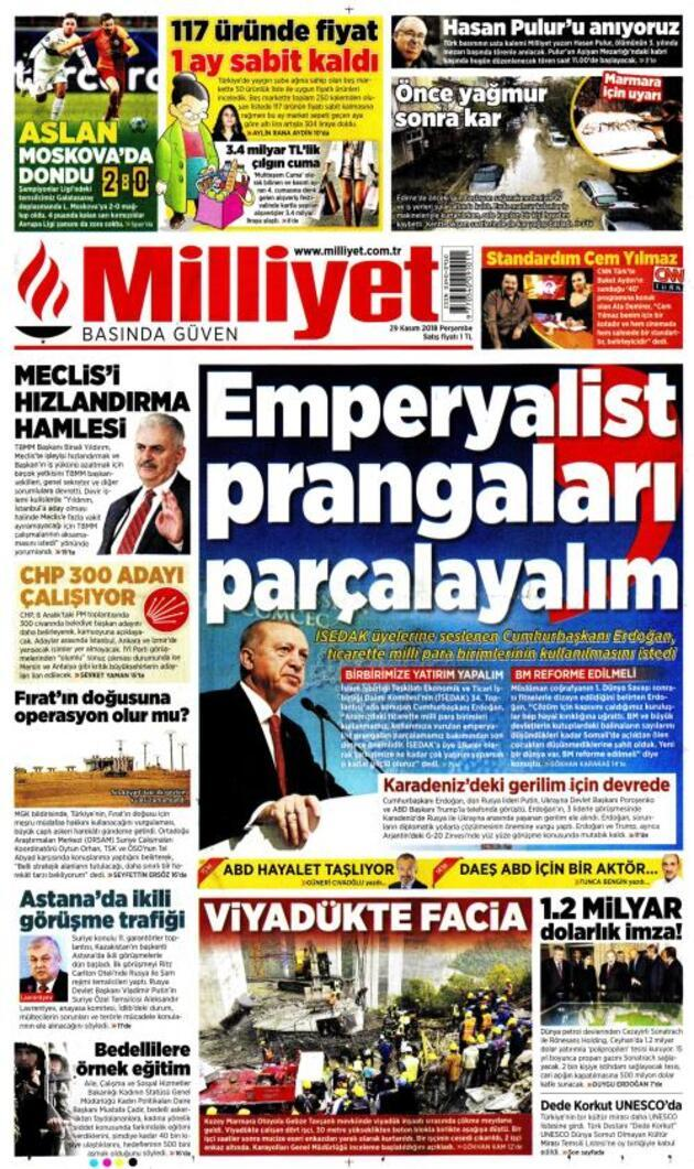 29 Kasım 2018 - Gazete Manşetleri