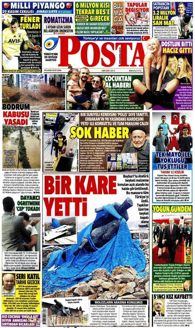 30 Kasım 2018 - Gazete Manşetleri