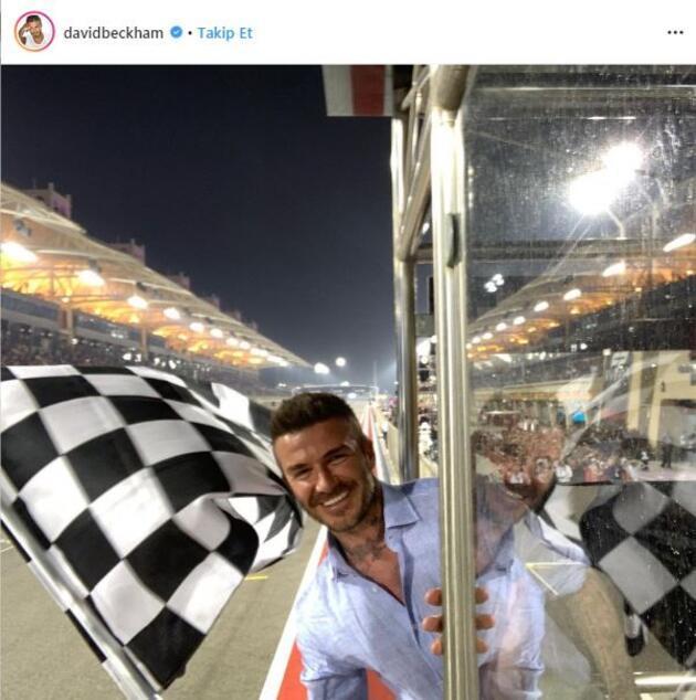 F1'de damalı bayrağı David Beckham salladı