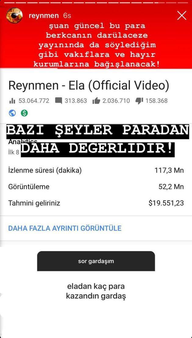 Takipçisi sordu, o yanıtladı: İşte Reynmen'in Ela şarkısından kazandığı para