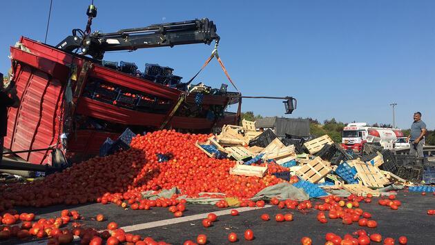 TEM'de kamyon devrildi: Tonlarca meyve ve sebze yola döküldü