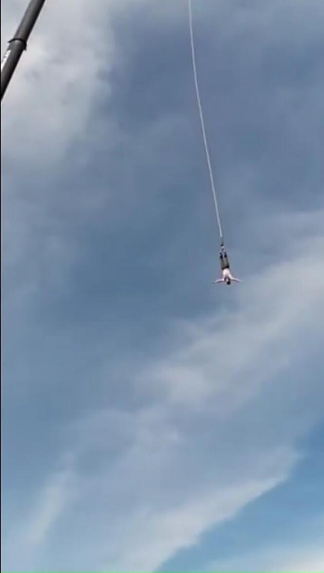 Bungee jumping halatı koptu, 30 metreden aşağı düştü