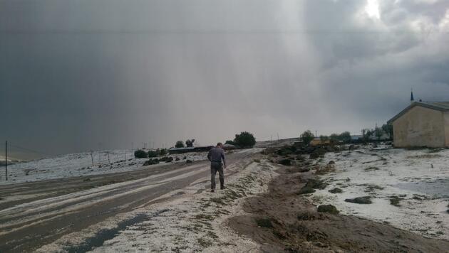 Ardahan'da dolu yağışı etkili oldu