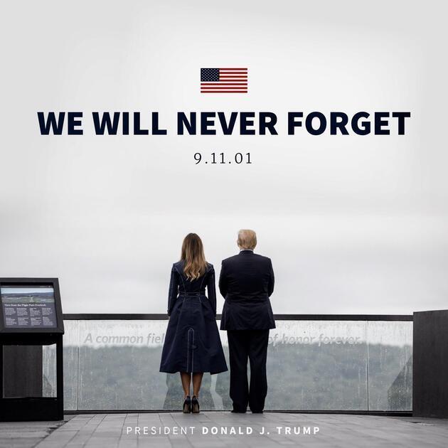 Trump ve First Lady 11 Eylül kurbanlarını andı