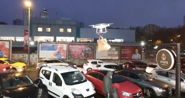 Drone ile çorba servisi yapıyor