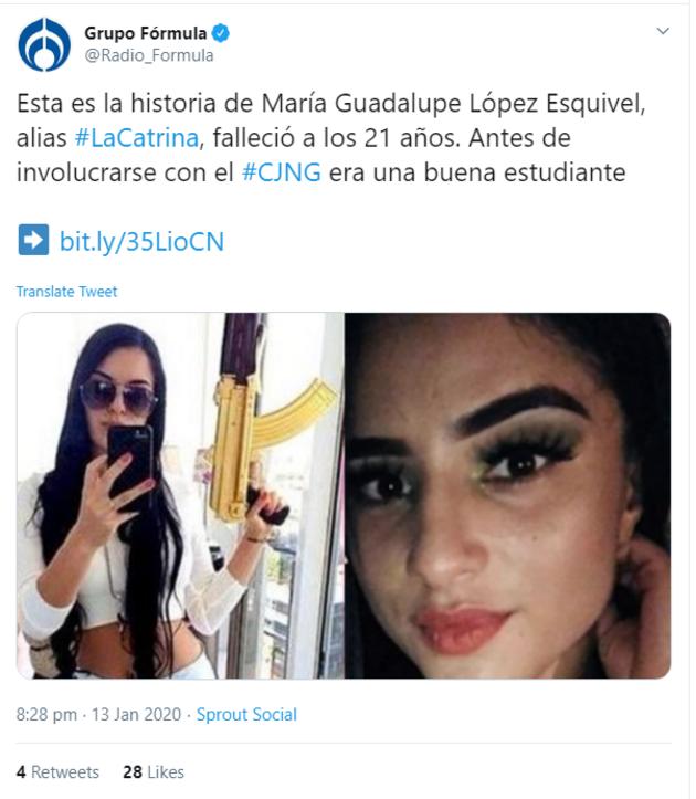 Meksika'da bir suç örgütünün önde gelen kadın üyelerinden 'La Catrina' öldürüldü
