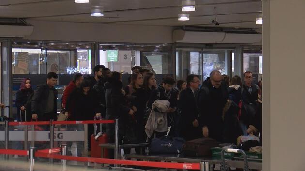 Yarıyıl tatili için Sabiha Gökçen Havalimanı'na akın ettiler