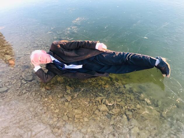 Gökçedere Gölü buz tuttu, çeşme ve dereler dondu