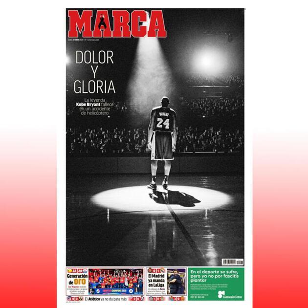Kobe Bryant dünya manşetlerinde