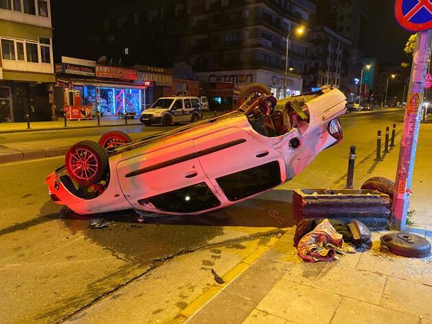 Maltepe'de feci kaza! Otomobil takla attı: 2 yaralı