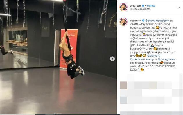 Ece Erken 'BungeeGYM' yaptığı anları, sosyal medyada paylaştı