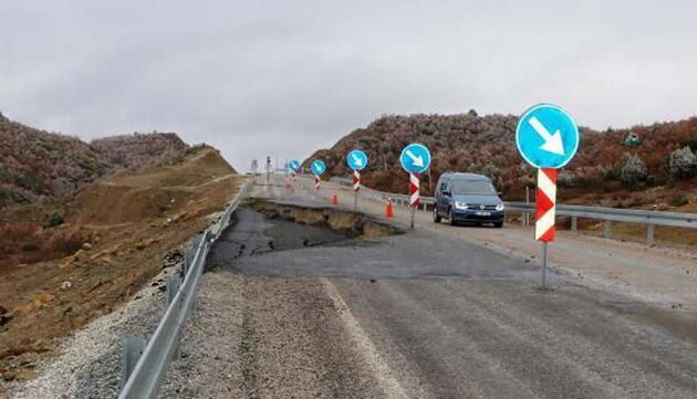 Yağış nedeniyle yol çöktü