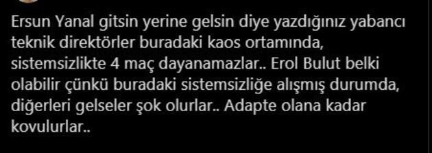 Fenerbahçe taraftarı Erol Bulut'u istiyor