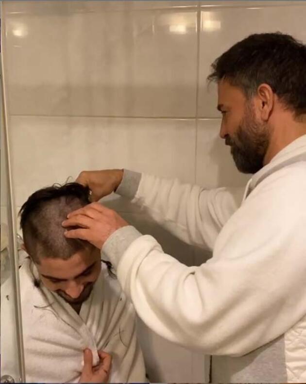 İzzet Yıldızhan oğlunu tıraş etti