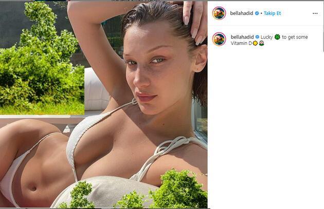 Bella Hadid güneş banyosu keyfi yaptı