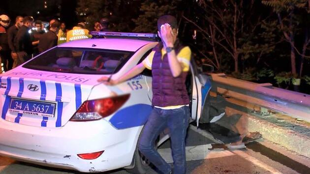 Polisten kaçarken girdikleri ters yönde polis aracına çarptılar