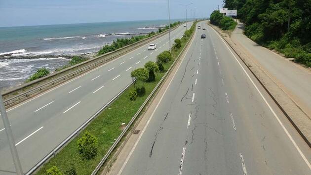 Karadeniz Sahil Yolu'nda 'çatlak' tehlikesi