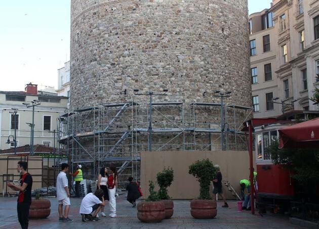 Galata Kulesi'nde restorasyon hazırlıkları başladı