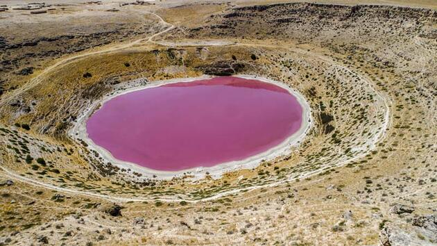 Meyil Obruk Gölü, pembeye büründü