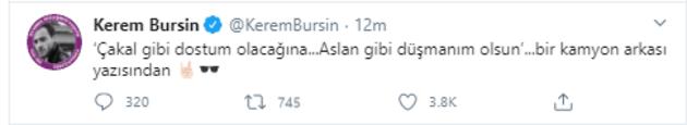 Kerem Bürsin'den esprili paylaşım
