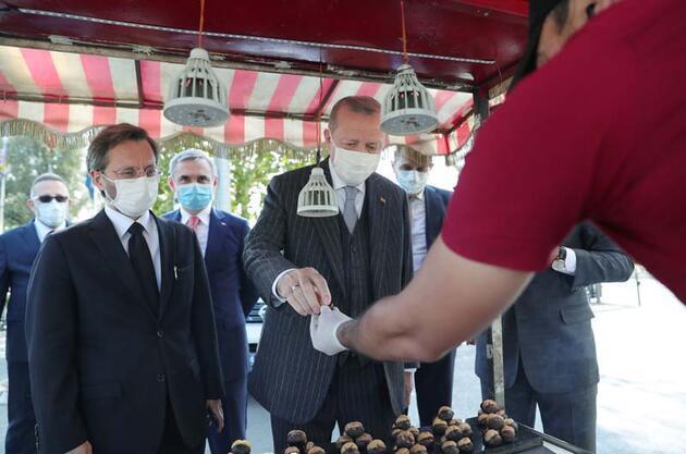 Son dakika... Cumhurbaşkanı Erdoğan Beşiktaş'ta kestaneciye uğradı