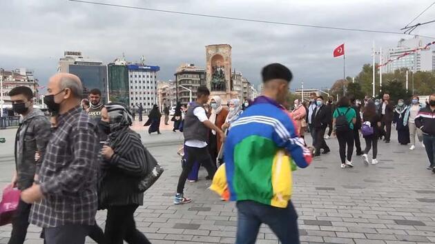 Son dakika... Taksim'de koronavirüse rağmen dikkat çeken kalabalık