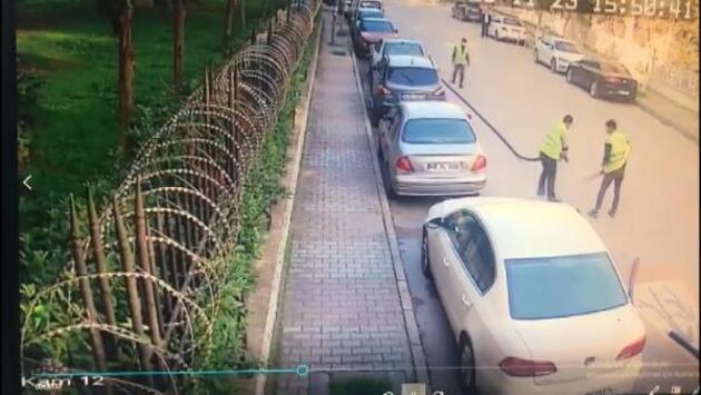 Sokak ortasında güpegündüz kablo hırsızlığı