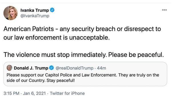 Ivanka Trump'ın baskın yapan eylemcilere 'vatansever' dediği paylaşımı olay oldu