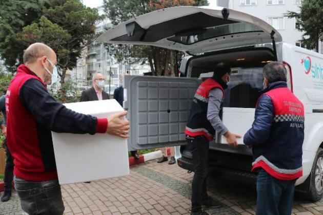 Samsun'da korona aşıları hastanelere gönderildi